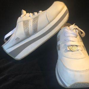 Rare Skechers Glitter Platform Mule Sneakers